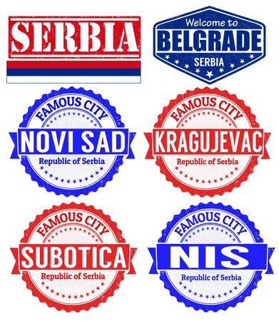 serbia: Set of grunge rubber stamps with names of Serbia cities, vector illustration Illustration