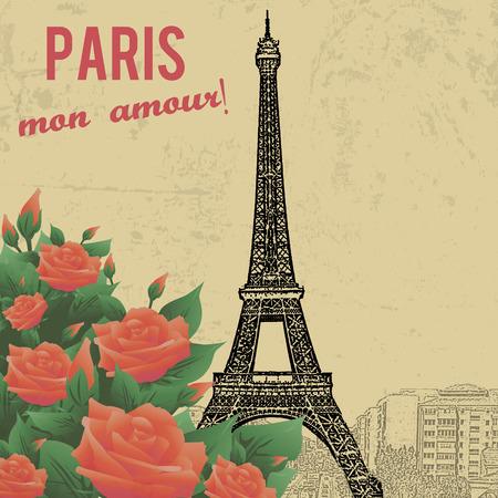 tower: Vintage touristic poster background -  Paris my love ( mon amour), vector illustration Illustration