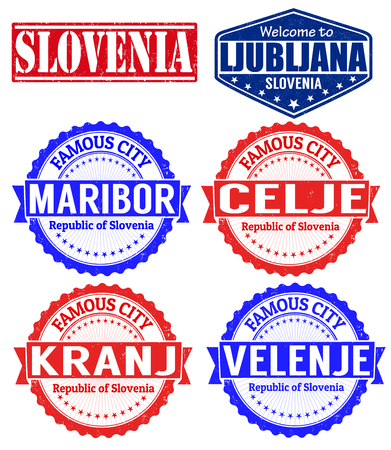 Set of grunge rubber stamps with names of Slovenia cities, vector illustration