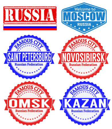 saint petersburg: Set of grunge rubber stamps with names of Russia cities, vector illustration