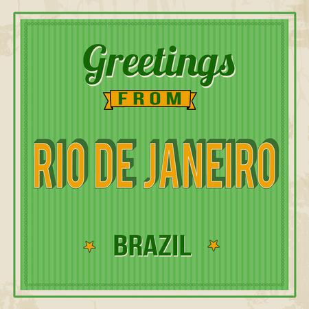 Vintage Touristic Greeting Card - Rio de Janeiro, Brazil, vector illustration Illustration