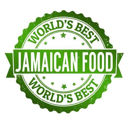 jamaican: Comida jamaicana grunge sello de goma en blanco, ilustraci�n vectorial Vectores