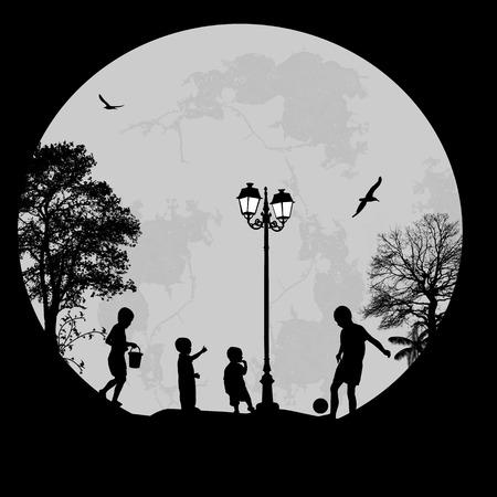 niños jugando en el parque: Niños jugando en un parque en un lugar bonito, ilustración vectorial