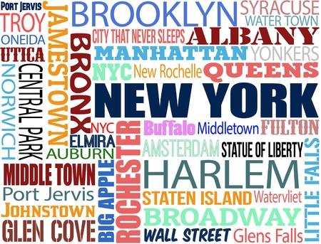 central park: Collage con diferentes palabras con municipios y los s�mbolos de Nueva York en el fondo blanco, ilustraci�n vectorial