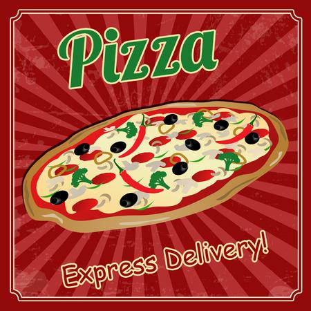 Pizza vintage grunge poster, vector illustration Vector