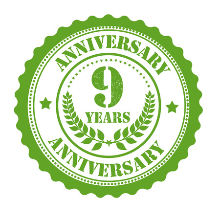9th: 9 years anniversary grunge rubber stamp on white, vector illustration