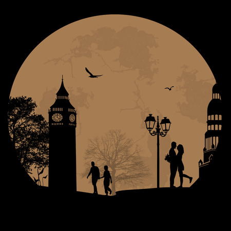 Couple silhouette in love in front of London tower , vector illustration Vector