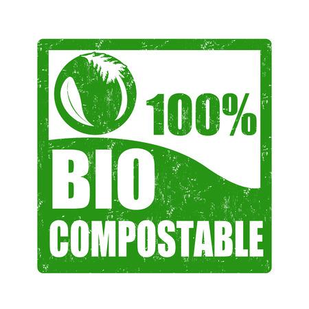 Bio compostable grunge rubber stamp on white, vector illustration