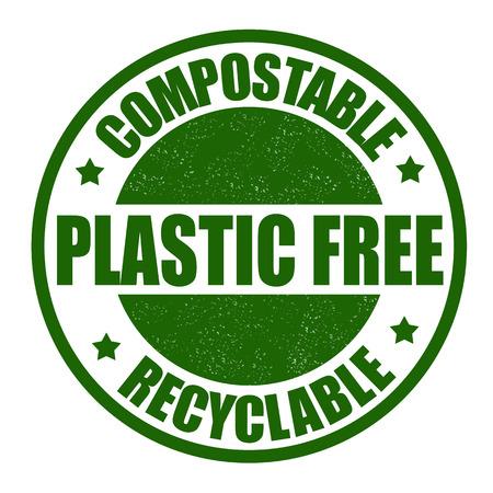 compost: Plastic free grunge rubber stamp on white, vector illustration Illustration