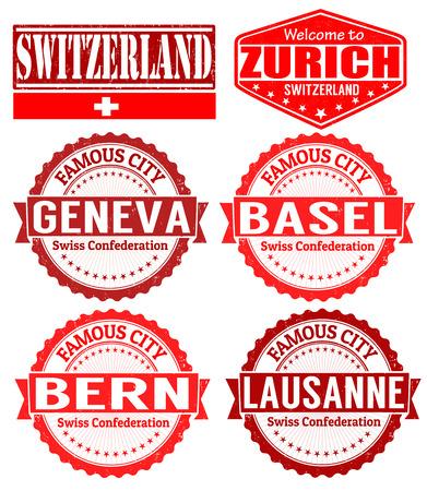 Conjunto de sellos de goma del grunge con nombres de ciudades de Suiza, ilustración vectorial Ilustración de vector