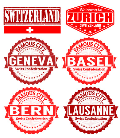 imprinted: Set of grunge rubber stamps with names of Switzerland cities, vector illustration Illustration
