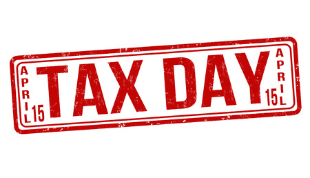 Tax day rubber stamp on white, vector illustration