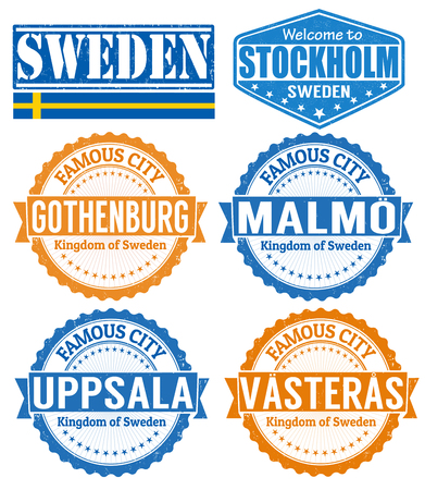 Set of grunge rubber stamps with names of Sweden cities, vector illustration Vector