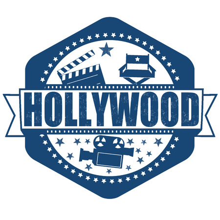 hollywood star: Hollywood grunge rubber stamp on white, vector illustration