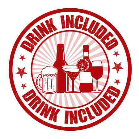 included: Drink included grunge rubber stamp on white, vector illustration