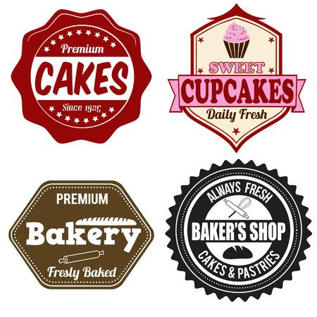 Set of vintage retro bakery labels or stamps on white, vector illustration Illustration