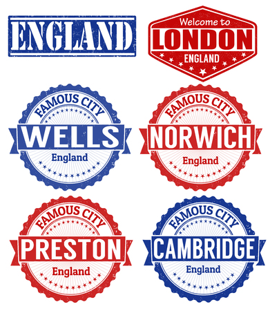 wells: Set of grunge rubber stamps with names of England cities, vector illustration