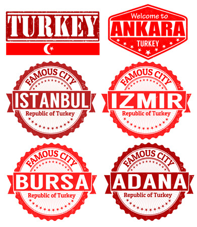 bursa: Set of grunge rubber stamps with names of Turkey cities, vector illustration