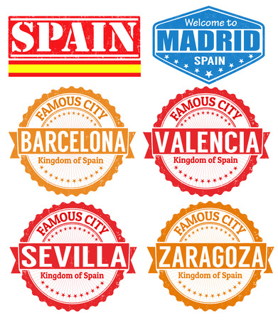barcelona: Set of grunge rubber stamps with names of Spain cities, vector illustration