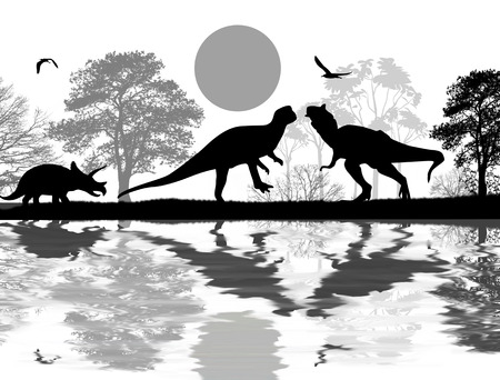 Dinosaurs silhouettes in beautiful landscape near water , vector illustration Vector