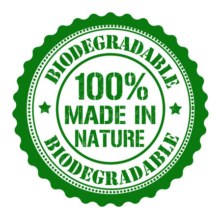 biodegradable: Biodegradable, made by nature rubber stamp on white, vector illustration Illustration