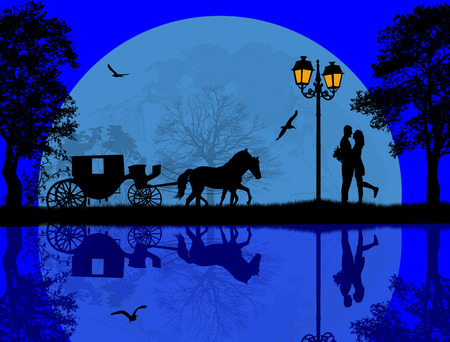 horse and cart: Carriage and lovers at blue night on beautiful landscape near water, vector illustration Illustration