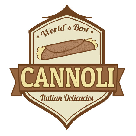stiker: Cannoli stamp or label on white background