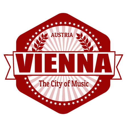 Vienna capital of Austria label or stamp on white Vector