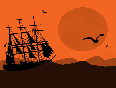 regatta: Vintage sailboat sailing at sunset