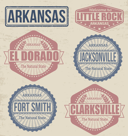 jacksonville: Set of Arkansas cities stamps on vintage background