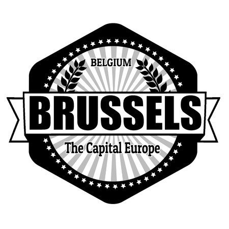 Brussels capital of Belgium label or stamp on white Vector