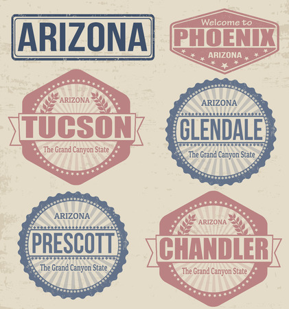 tucson: Set of Arizona cities stamps on vintage background