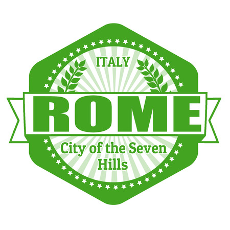 Rome capital of Italy label or stamp on white Vector