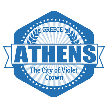 athens: Athens capital of Greece label or stamp on white Illustration