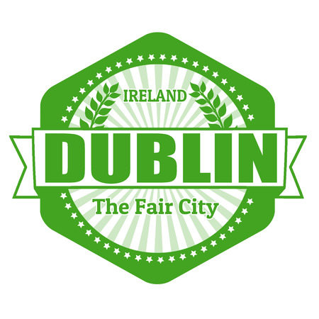 Dublin capital of Ireland label or stamp on white Vector