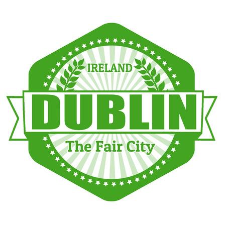dublin: Dublin capital of Ireland label or stamp on white Illustration