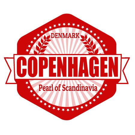 Copenhagen capital of Denmark label or stamp on white Vector