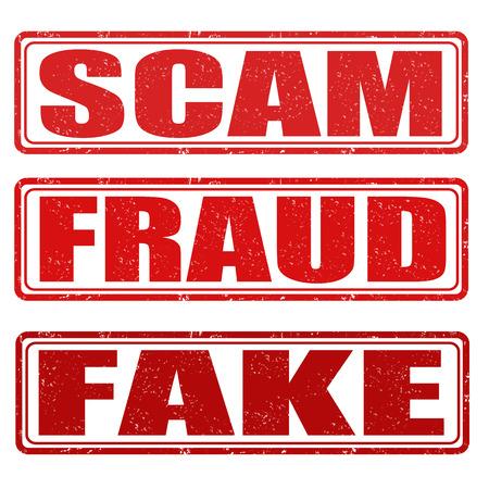 dinero falso: Estafa, el fraude y la falsificación de sellos de goma del grunge blanco Vectores