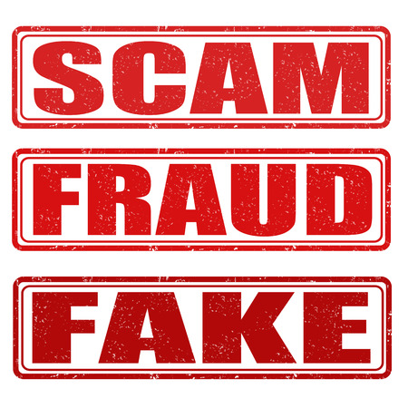 Scam, fraud and fake grunge rubber stamps on white