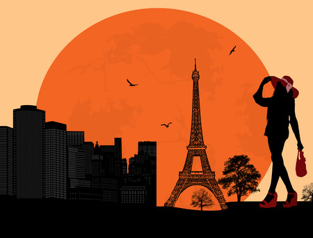 Beautiful woman silhouette on a french background Vector