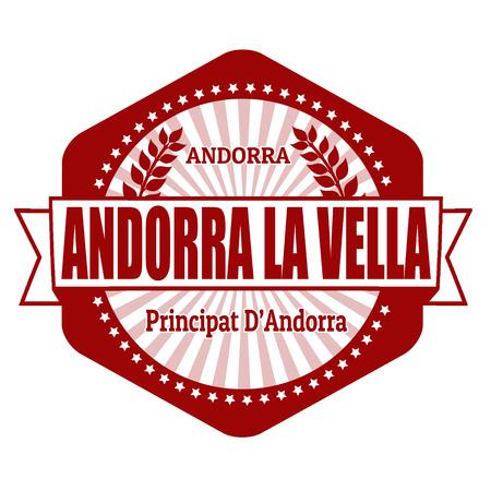 andorra: Andorra la Vella capital of Andorra label or stamp on white