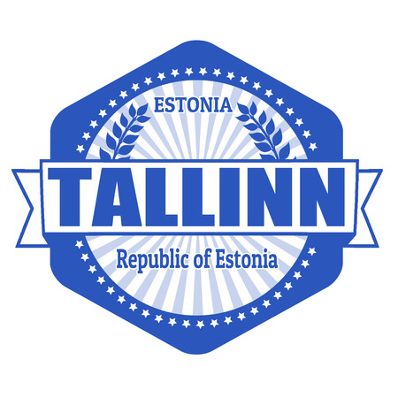 Tallinn capital of Estonia label or stamp on white Vector