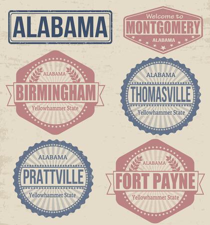 alabama: Set of Alabama cities stamps on vintage background Illustration