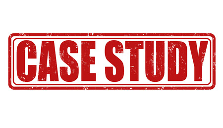 Case study grunge rubber stamp on white