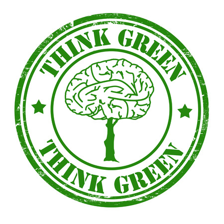 Think green grunge rubber stamp with brain tree Vector
