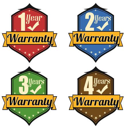 management qualit�: �tiquette ou timbres fix�s pour l'assurance qualit� et gestion de la qualit�, 1-4 ans de garantie et Coche Illustration