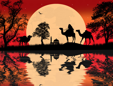 Bedouin camel caravan in arabian landscape on sunset Vector