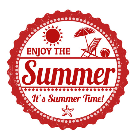 Enjoy the summer grunge rubber stamp on white Vector