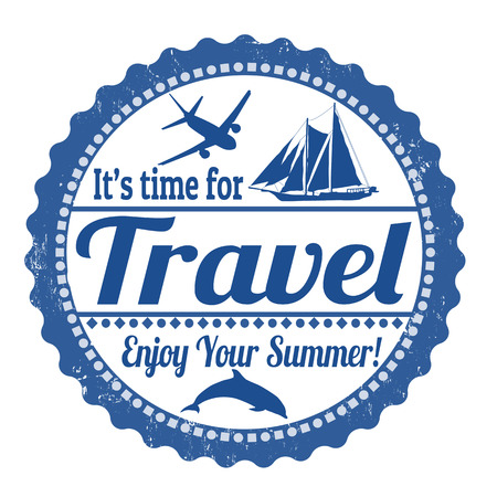 Its time for travel grunge rubber stamp on white Vector