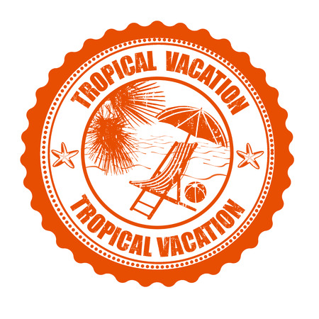 Tropical vacation grunge rubber stamp on white Vector